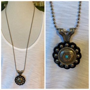 Boho Southwest Leather and Silver Necklace